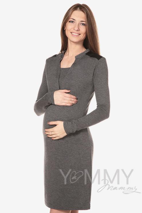 Платье с отделкой из экокожи для кормящих и беременных, темно-синий