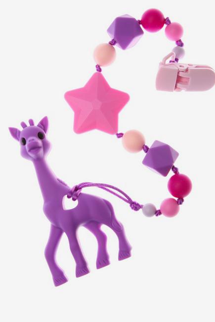 Силиконовый прорезыватель с держателем Сафари, фиолетовый