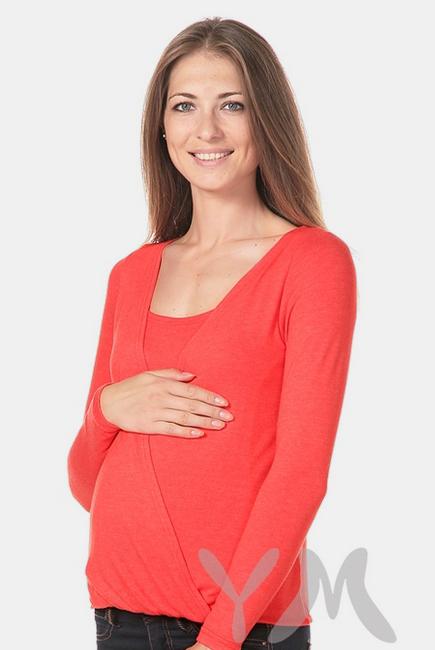Блуза на резинке для беременных и кормящих, красный мак