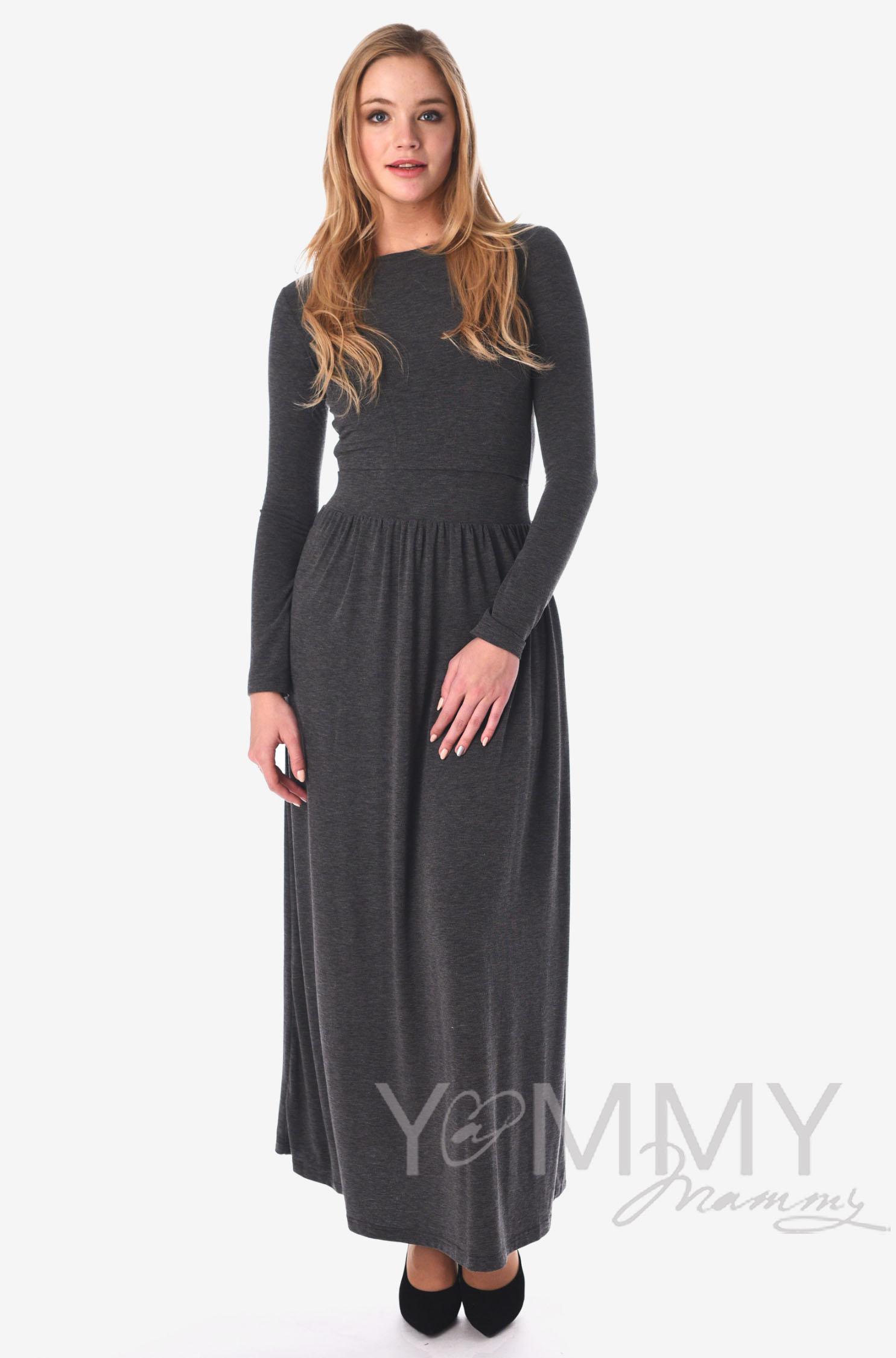 Платье длинное для кормящих и беременных с карманами, темно-серый меланж