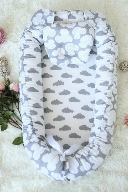 Кокон-гнездышко для новорожденных Babynest Clouds Silver