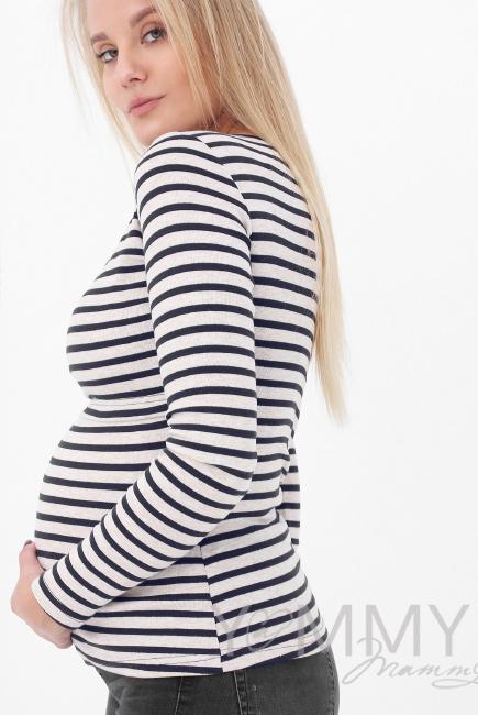 Лонгслив для кормящих и беременных, бежевый в синюю полоску