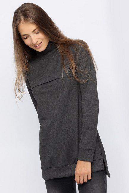 Джемпер для беременных и кормящих с высоким горлом, темно-серый меланж