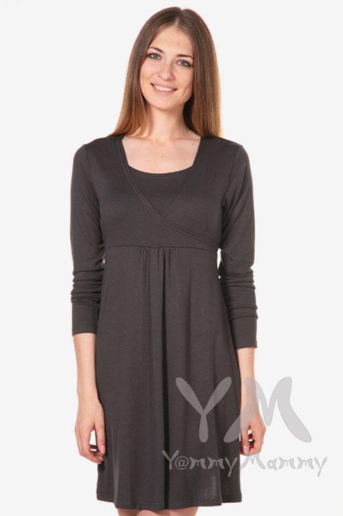 Платье-туника с пояском для беременных и кормящих, графит