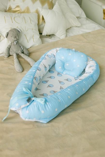 Кокон-гнездышко для новорожденных Babynest Ice Cream Blue