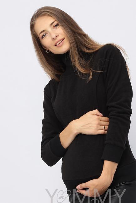 Джемпер для беременных и кормящих флисовый с высоким горлом, черный