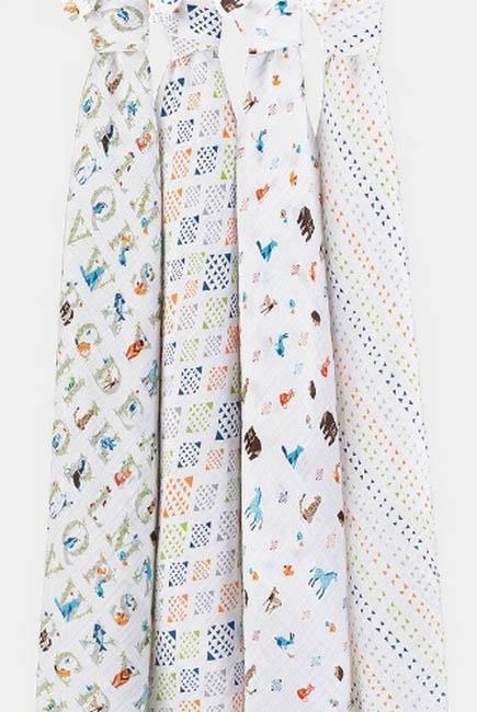 Муслиновые пеленки для новорожденных Aden&Anais, большие, набор 4, Parer Tales