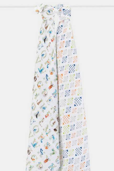 Муслиновые пеленки для новорожденных большие Aden&Anais, набор 2, Paper tales
