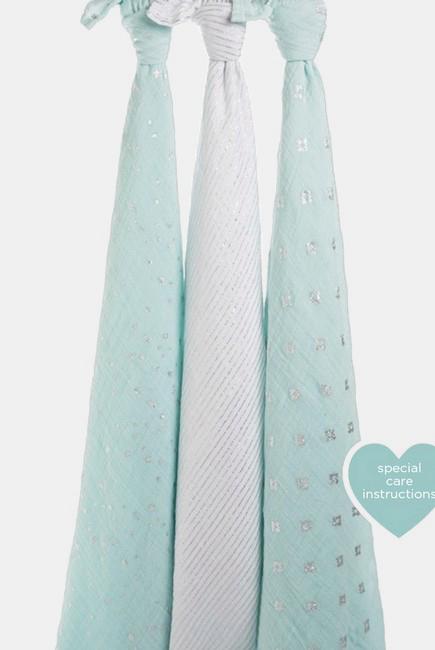 Муслиновые пеленки для новорожденных Aden&Anais мерцающие большие, набор 3, Metallic Skylight