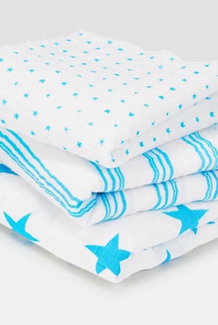 Муслиновые пеленки для новорожденных Aden&Anais средние, набор 3, Musy Neon Blue
