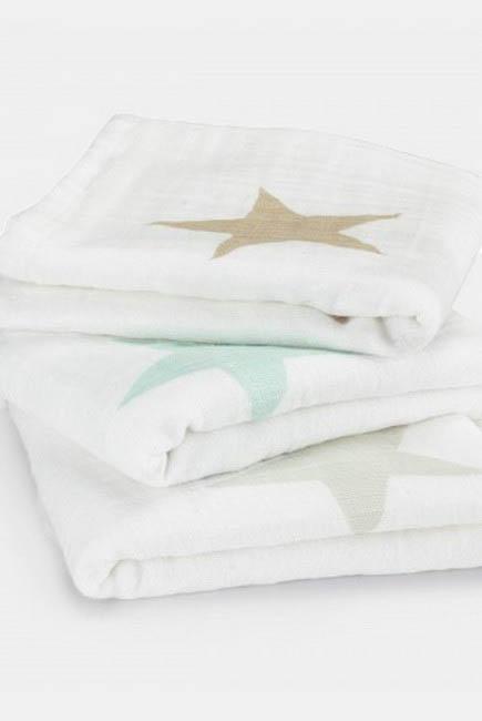 Муслиновые пеленки для новорожденных Aden&Anais средние, набор 3, Super Star Scout