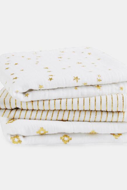 Муслиновые пеленки для новорожденных Aden&Anais мерцающие средние, набор 3, Metallic Gold