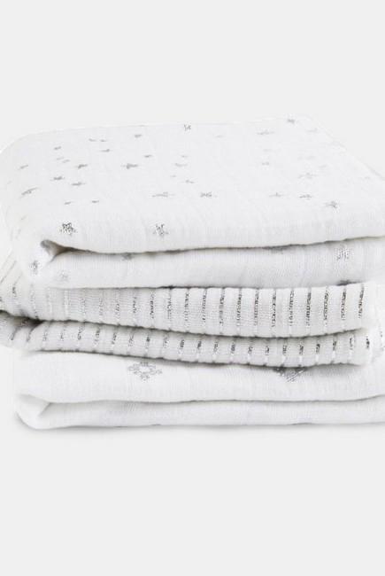 Муслиновые пеленки для новорожденных Aden&Anais мерцающие средние, набор 3, Metallic Silver