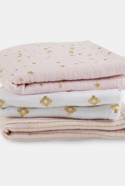 Муслиновые пеленки для новорожденных Aden&Anais мерцающие средние, набор 3, Metallic Primrose