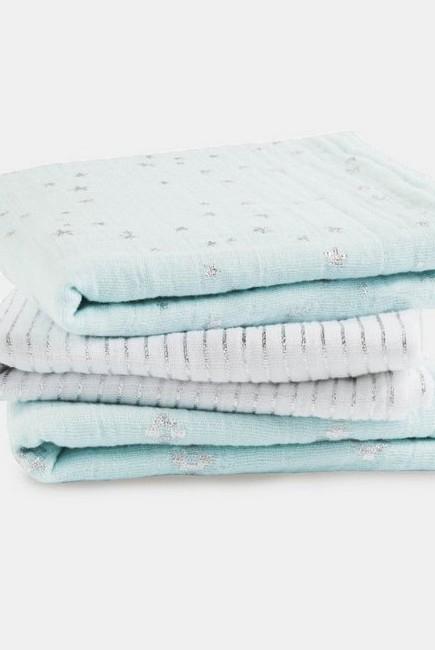 Муслиновые пеленки для новорожденных Aden&Anais мерцающие средние, набор 3, Metallic Skylight