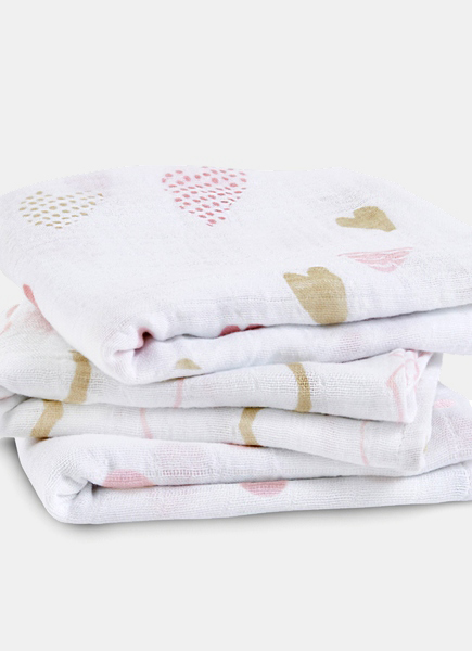 Муслиновые пеленки для новорожденных Aden&Anais средние, набор 3, Heart Breaker