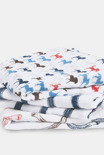Муслиновые пеленки для новорожденных Aden&Anais средние, набор 3, Wild Horses