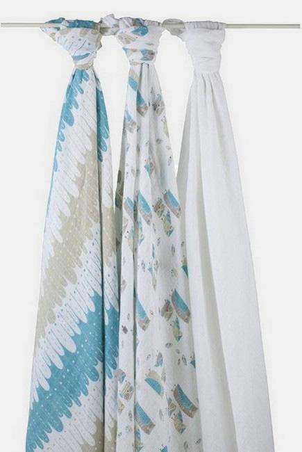 Муслиновые пеленки Aden&Anais для новорожденных большие, набор 3, Wise Guys