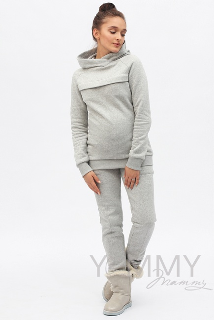 Теплый костюм для кормящих и беременных, цвет серый меланж