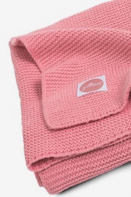 Вязаный плед для новорожденных Jollein Basic Knit, коралл, средний