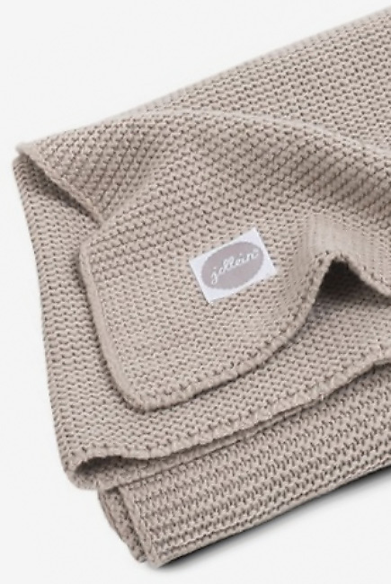 Вязаный плед для новорожденных Jollein Basic Knit, песочный, средний