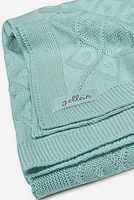 Вязаный плед для новорожденных Jollein Ромбы, винтажный зеленый