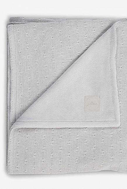 Вязаный плед для новорожденного с мехом Jollein Soft, серый