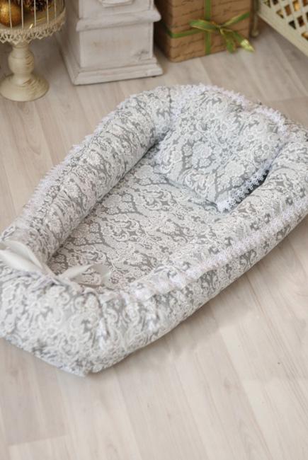 Гнездышко-кокон для новорожденных Babynest Barocco silver