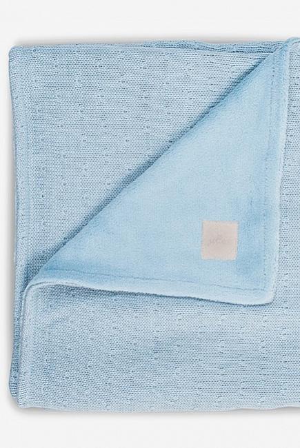Вязаный плед для новорожденного с мехом Jollein Soft, голубой