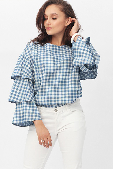 Блуза для кормящих и беременных джинс с воланами на рукавах, голубая в клеточку