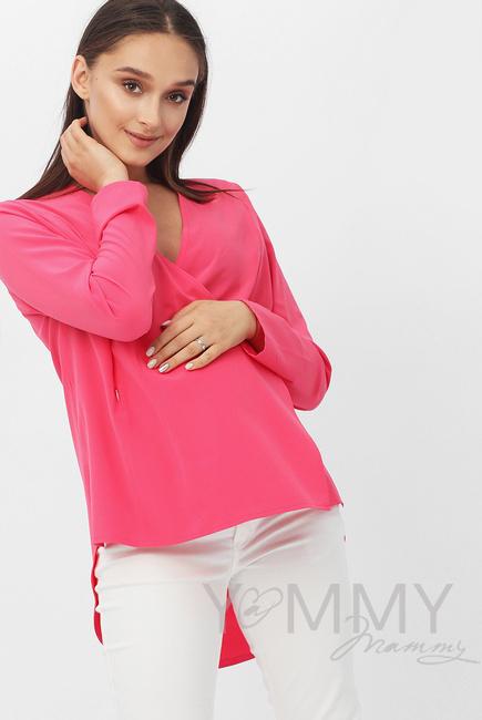 Блуза для кормящих и беременных на запах, фуксия