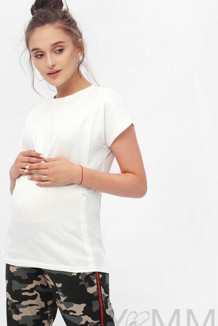 Футболка для кормящих и беременных с серебряным напылением, цвет белый