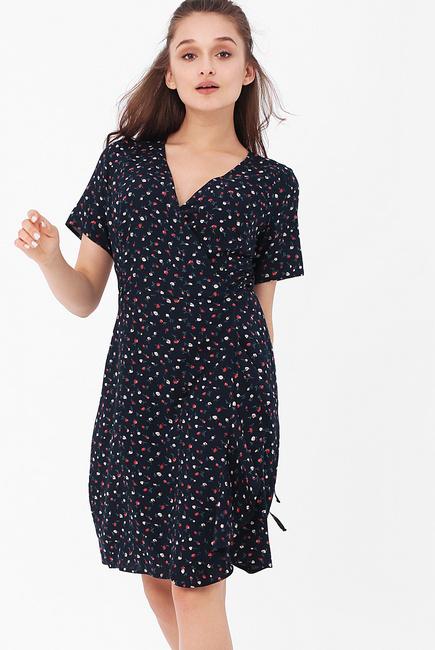 Платье для беременных и кормящих на запах с цветочным принтом, цвет темно-синий