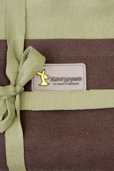 Трикотажный слинг-шарф Кенгуруша Mix, цвет олива-кофе