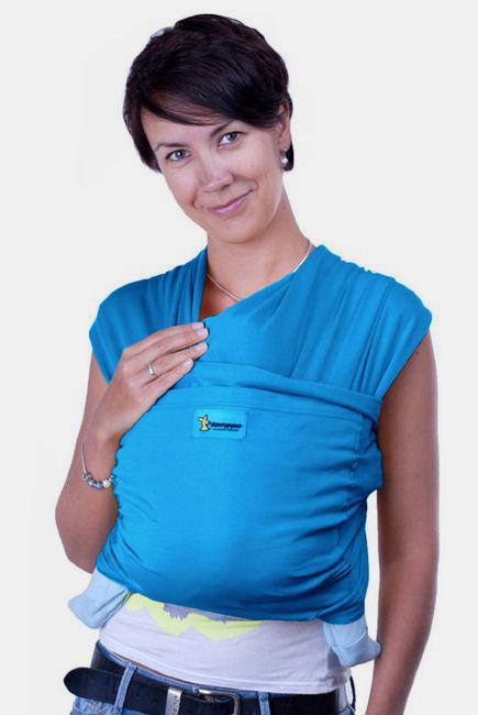 Трикотажный слинг-шарф Кенгуруша Style, цвет бирюза