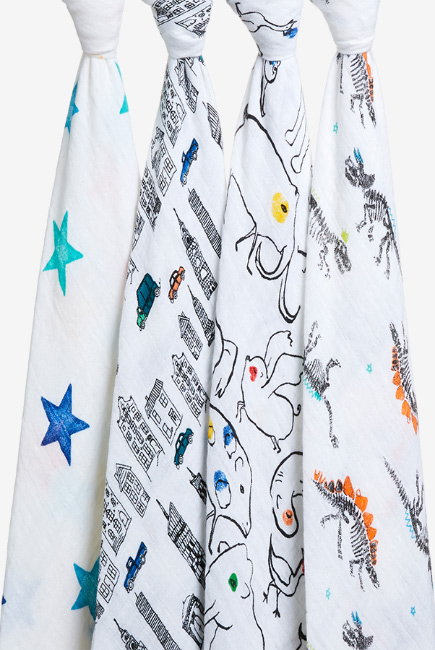 Муслиновые пеленки Aden&Anais для новорожденных, большие, набор 4, Color Pop