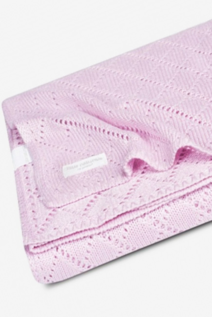 Плед для новорожденных бамбуковый вязаный Jollein, розовый, средний