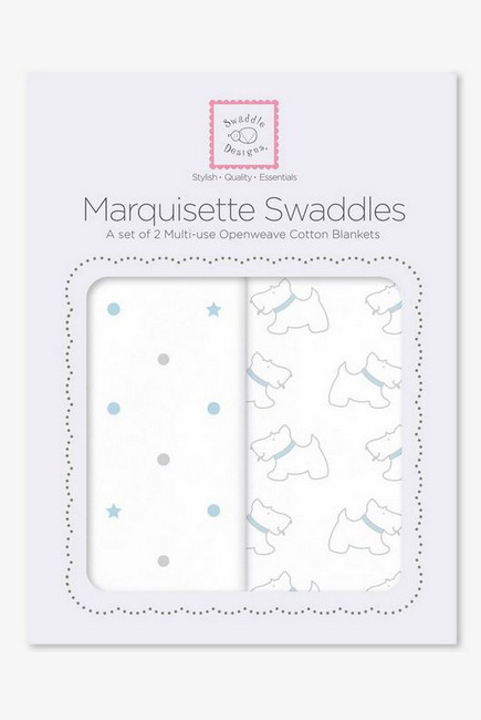 Набор пеленок SwaddleDesigns - Marquisette 2-Pack, Pstl Blue Little Doggie & Dottie Star