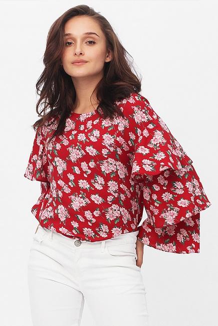 Блуза для кормящих и беременных в цветочный принт с воланами на рукавах, цвет красный