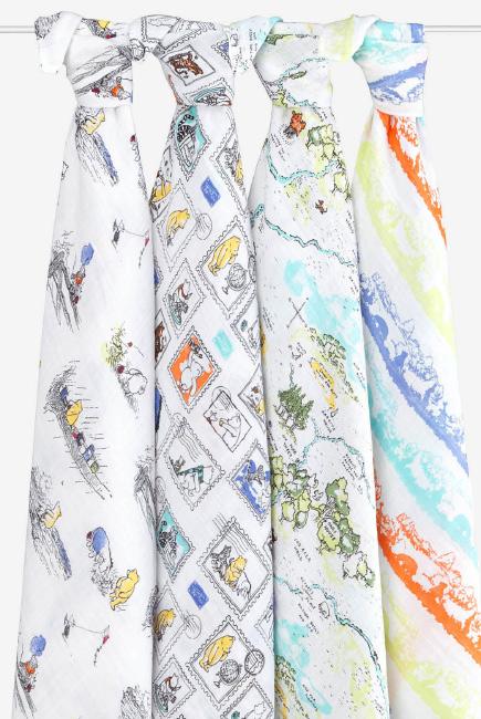 Муслиновые пеленки Aden&Anais для новорожденных большие, набор 4, Disney Winnie Pooh