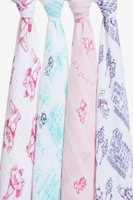Муслиновые пеленки Aden&Anais для новорожденных большие, набор 4, Disney Aristocrats