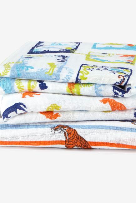 Муслиновые пеленки для новорожденных средние Aden&Anais, набор 3, Disney Jungle Book