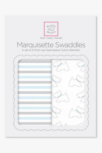 Набор пеленок SwaddleDesigns - Marquisette 2-Pack Little, Doggie Simple Stripes