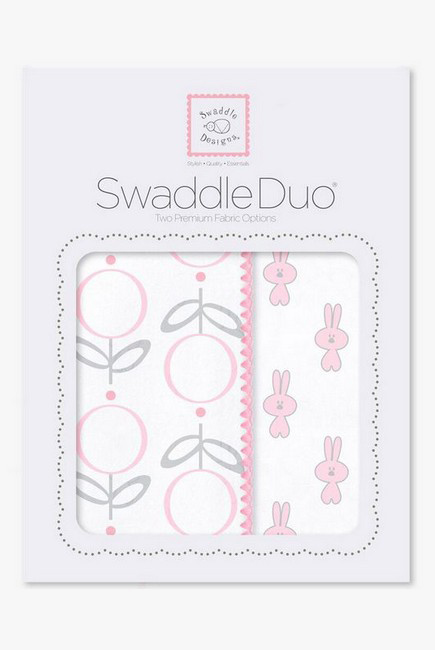 Набор пеленок SwaddleDesigns - Swaddle Duo Pink Little Bunnie