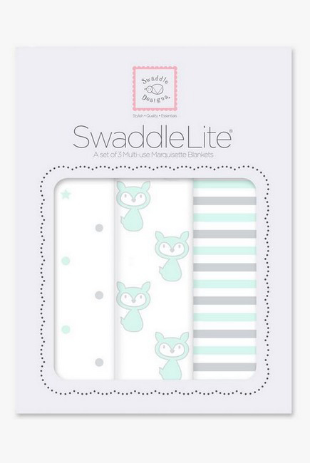 Набор пеленок SwaddleDesigns Swaddle Lite Pstl SeaCrystal Little Fox