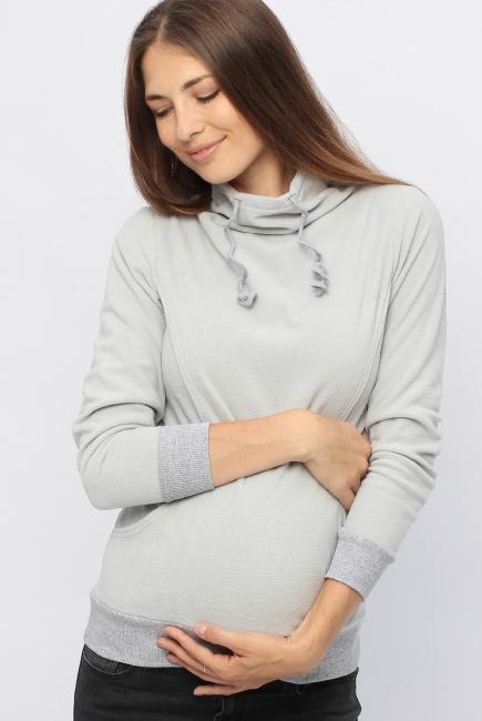 Толстовка для кормящих и беременных флисовая с завязками, цвет светло-серый
