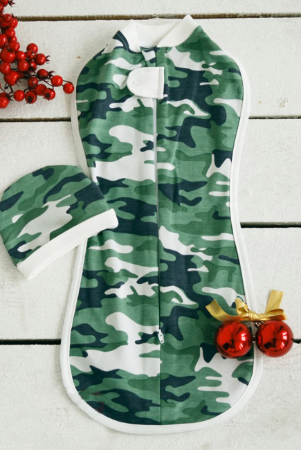 Пеленка-кокон для новорожденных утепленная, Military