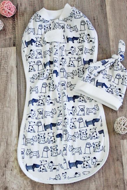 Пеленка кокон на молнии для новорожденных трикотажная, Dogs