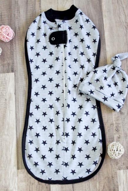 Пеленка кокон для детей трикотажная, Black Stars