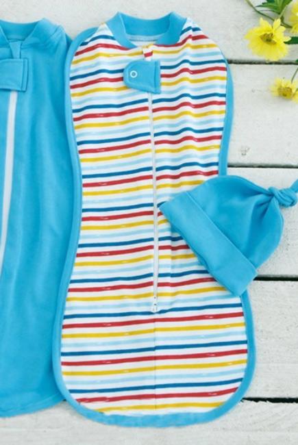 Пеленка кокон для новорожденных на молнии, Rainbow Stripe
